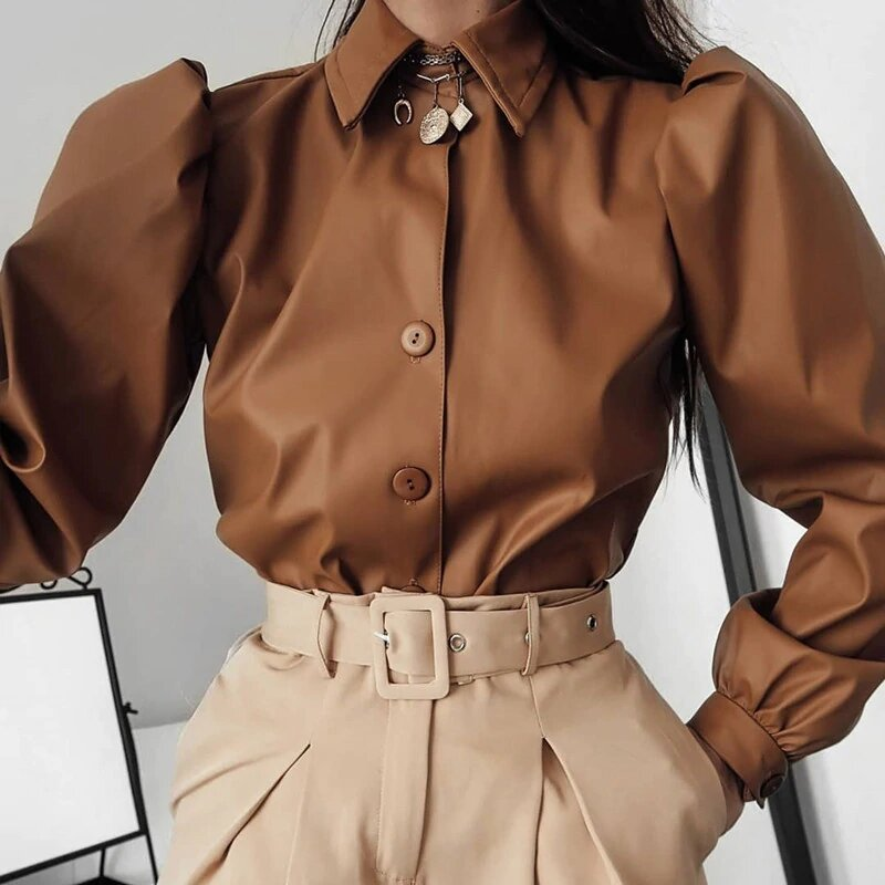 faux leather blouse with buttons and collar