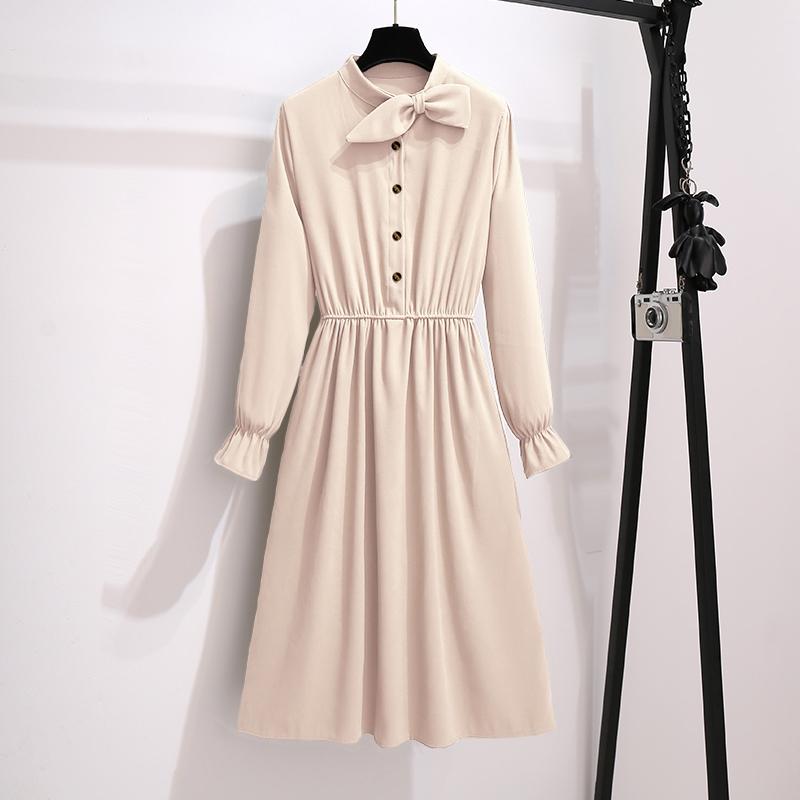 butter cream neck bow midi dress fashion trend