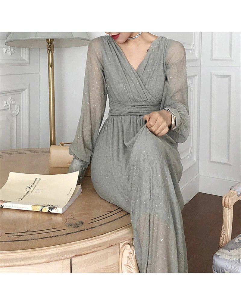 vintage glitter long maxi party dress