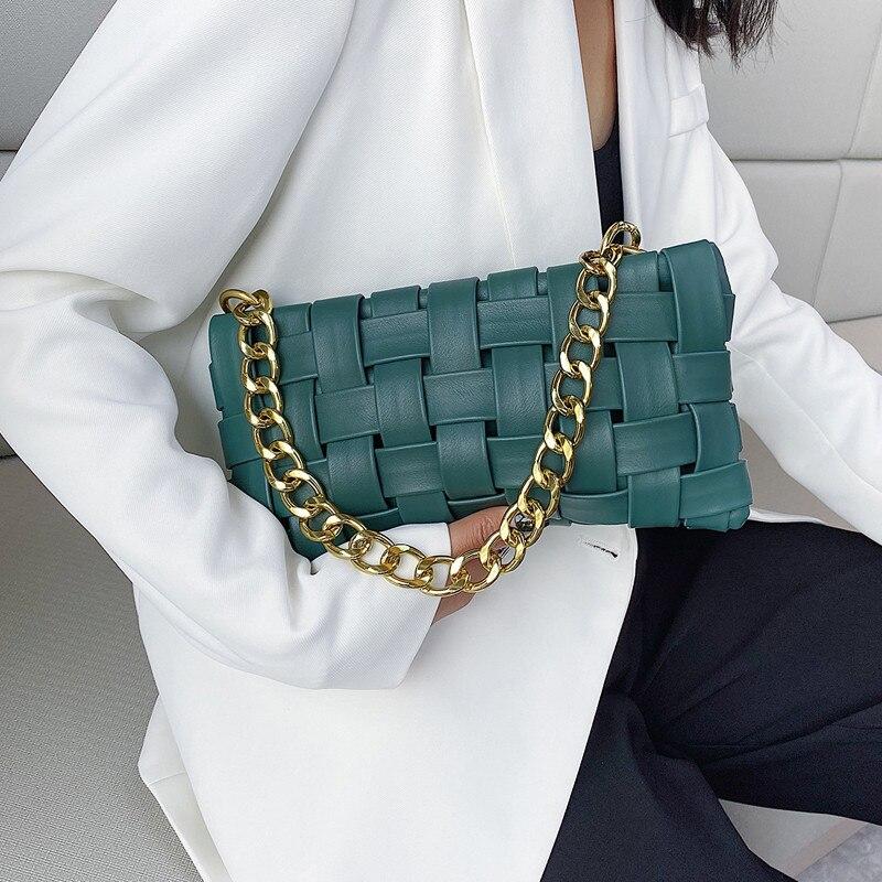 woman leather green fashion clutch